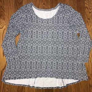 J. Jill Pure Jill Navy Pima Cotton Top Shirt 1X